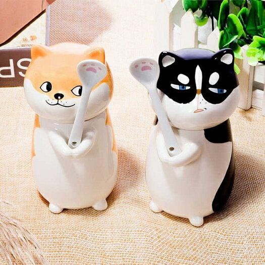 貓爪杯貓咪動物杯子創意陶瓷馬克杯生日禮物帶杯蓋勺子400ml 夏季上新