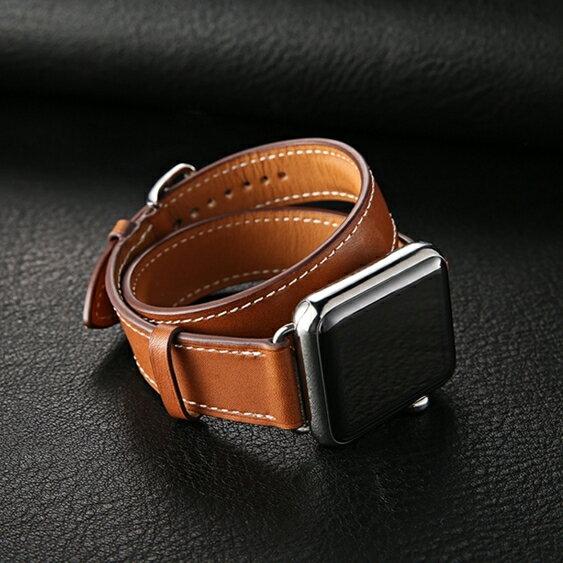錶帶apple watch錶帶真皮蘋果iwatch1/2/3代雙圈手錶帶38/42mm 全館免運