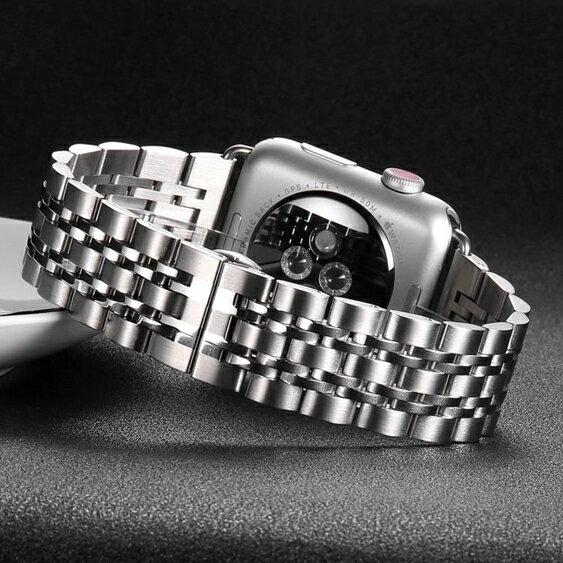 錶帶 索柯 錶帶鋼帶男女士精鋼手錶帶不銹鋼金屬蝴蝶扣適用于apple watch 2/3/4代