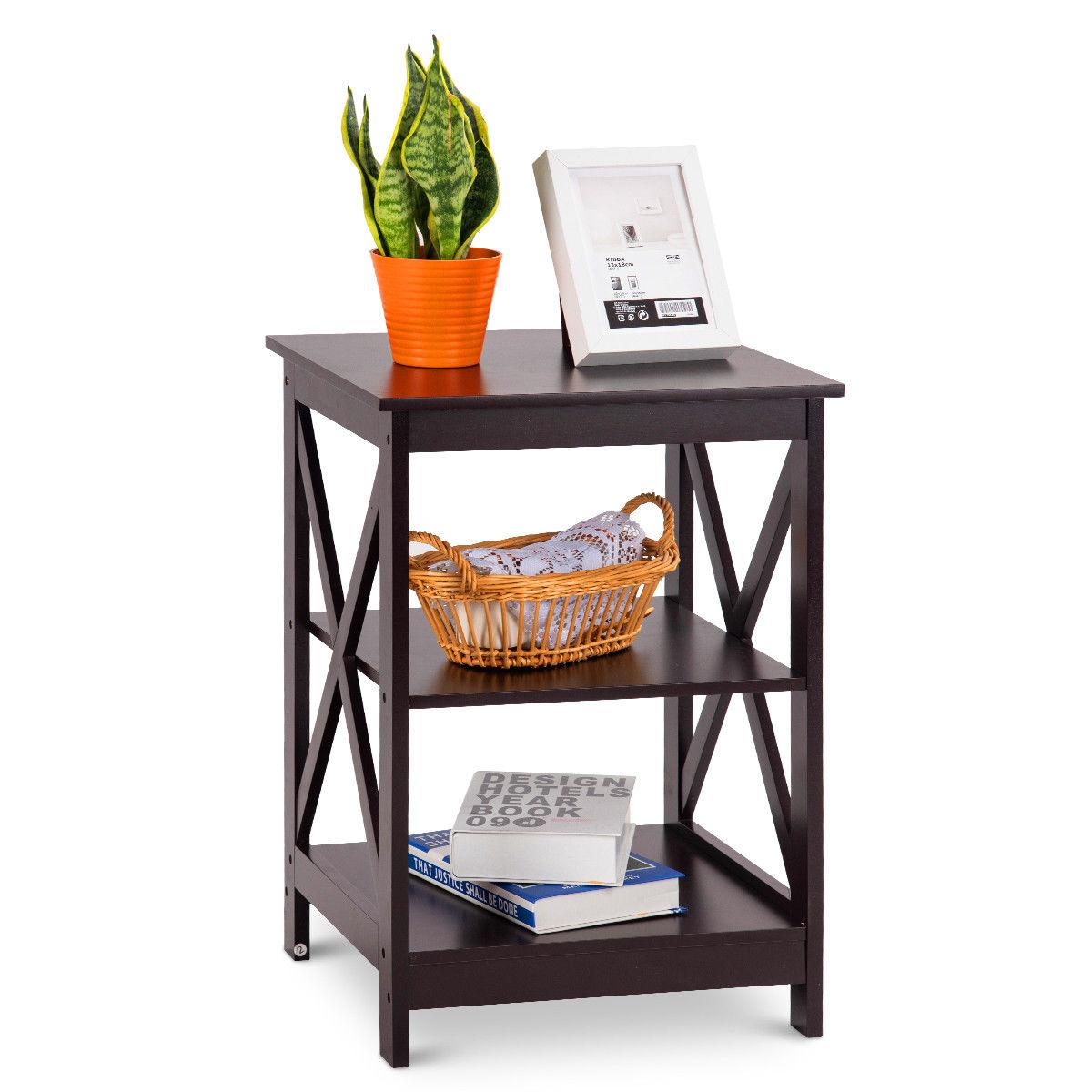 Costway Costway 3 Tier Nightstand End Table Storage Display Shelf