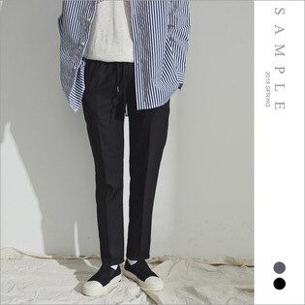 韓國製西裝褲鬆緊抽繩【PL20007】-SAMPLE