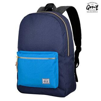 E&J【011007-03】免運費,GMT挪威潮流品牌 撞色後背包 深藍 附15吋筆電夾層;登山包/雙肩豬鼻背包