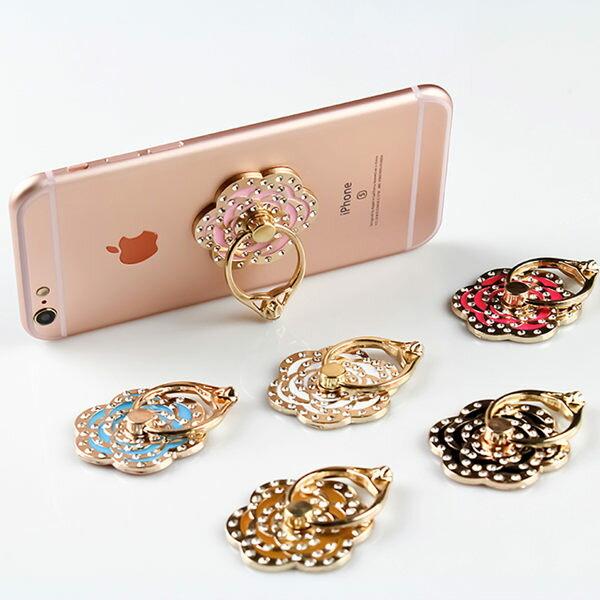 不鏽鋼指環 玫瑰 鑲鑽 手機指環支架 【FA0003】手機扣 支架 平板架 背貼 立架 指環扣