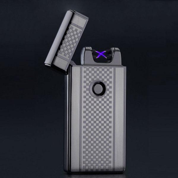 雙電弧打火機 脈衝式充電打火機 USB充電打火機 電子點菸器【BA0017】男人精品 全金屬