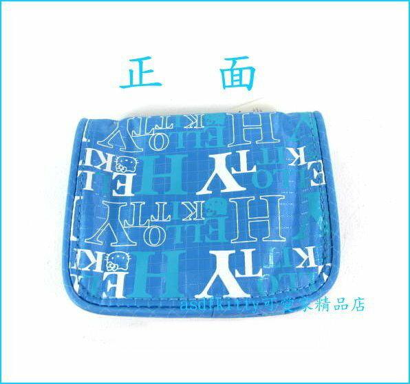 asdfkitty可愛家☆KITTY輕量藍色短夾/零錢包-可當卡包-2004年?版商品-日本正版商品