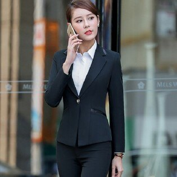 灰姑娘[YL-7122-PF]劍型領口拼接單扣OL長袖西裝外套~秋冬款式~
