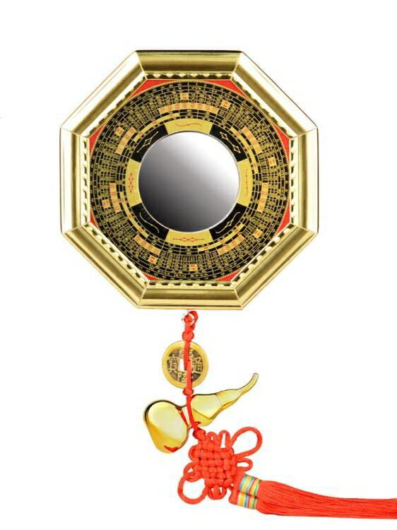 八卦鏡凸鏡鎮宅吸財太極凹凸鏡平面鏡家用大門口九宮八卦鏡圖擺件
