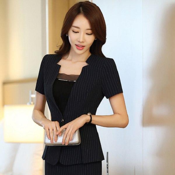 灰姑娘[ZY-7221-PF]時尚領單粒釦條紋修身粉領短袖西裝外套~