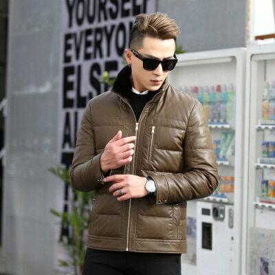 皮衣夾克外套-冬季立領純色休閒男夾克2色73pn26【獨家進口】【米蘭精品】 0