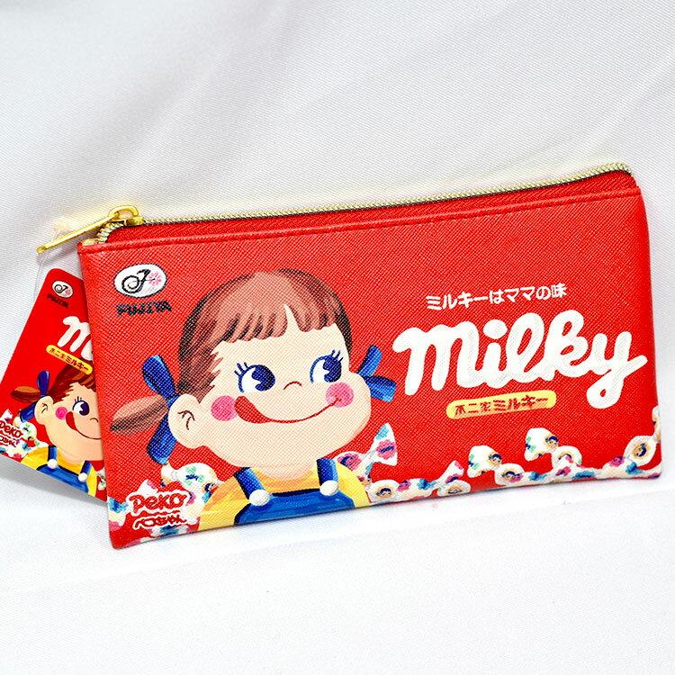 不二家 拉鍊筆袋 化妝包 包包 收納包 日本正版商品 milky 牛奶妹