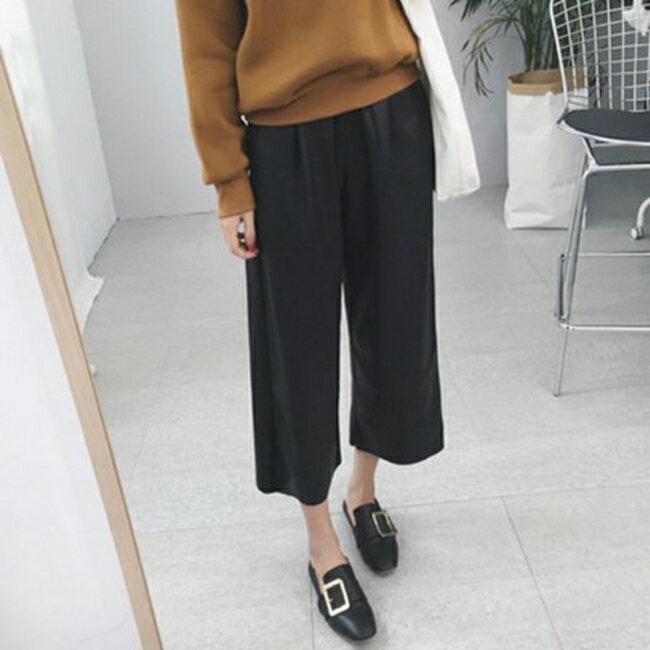 50^%OFF~G020443P~實拍2016 寬鬆型鬆緊腰女式PU皮闊腿褲高腰九分皮褲