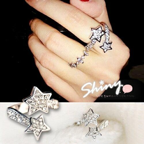 【DJJ3301】shiny藍格子-雙五角星交叉戒指