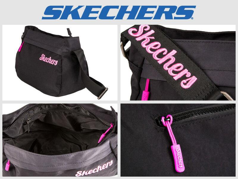 Shoestw【S57106】SKECHERS 側背包 輕量 刺繡LOGO 黑色 多拉鍊層 多功能包 小側背包 1