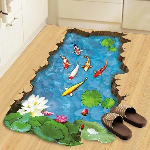 無痕逼真3D立體地板貼畫【長型池塘,錦鯉】✤朵拉伊露✤