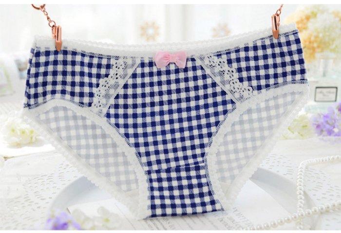 韓系格子 內褲 深藍 1件#顏色比照片更深色 純棉 三角褲 買2送1(隨機不挑款)