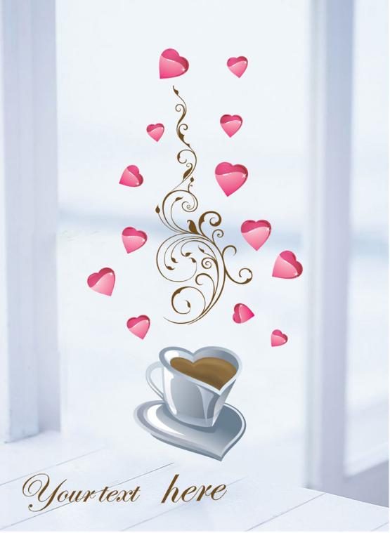 【壁貼王國】 古典系列無痕壁貼 《愛心咖啡 - AY933》