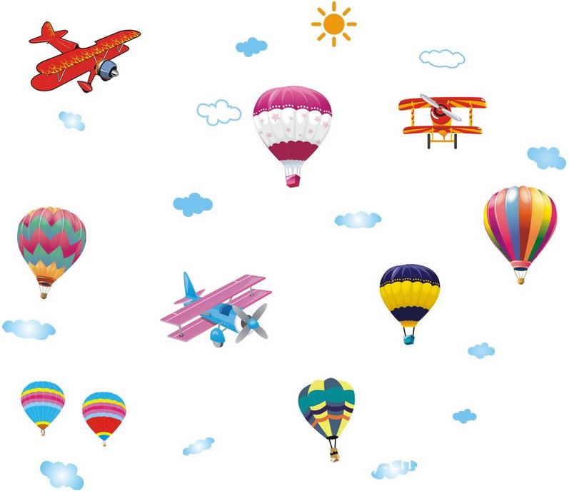 【壁貼王國】 卡通系列無痕壁貼 《熱氣球與小飛機 - AY622》
