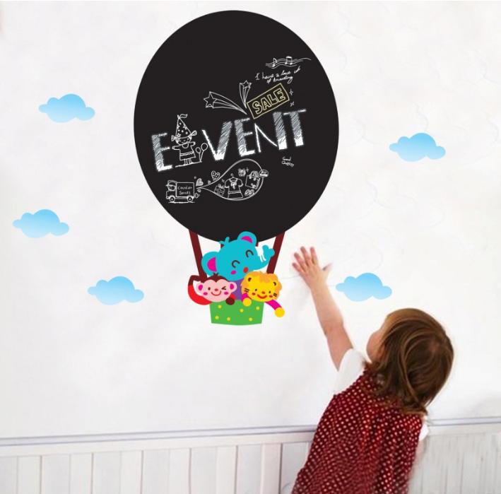 【壁貼王國】 黑板貼系列 無痕壁貼 《熱氣球 - AY628》