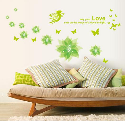 【壁貼王國】 園藝系列 無痕壁貼 《Love花/綠 - AY932 GA》