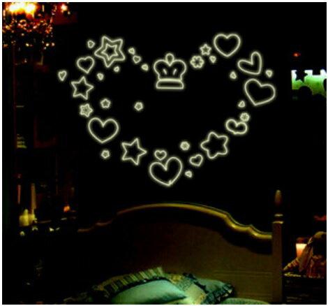 【壁貼王國】 A4夜光貼紙《皇冠星星愛心 - Y0006》