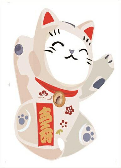 【壁貼王國】 喜慶系列無痕壁貼 《招財貓 - 壽 / A - AY950》