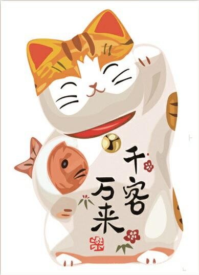 【壁貼王國】 喜慶系列無痕壁貼 《招財貓 - 千客萬來 / B - AY950》