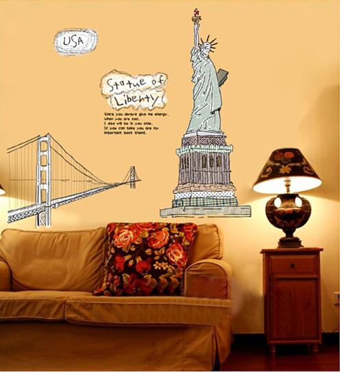 【壁貼王國】建築系列無痕壁貼 《自由女神 - AY807》