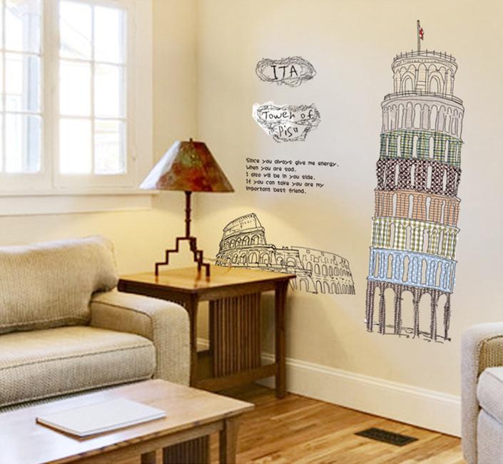 【壁貼王國】 建築系列無痕壁貼 《比薩斜塔 - AY808》