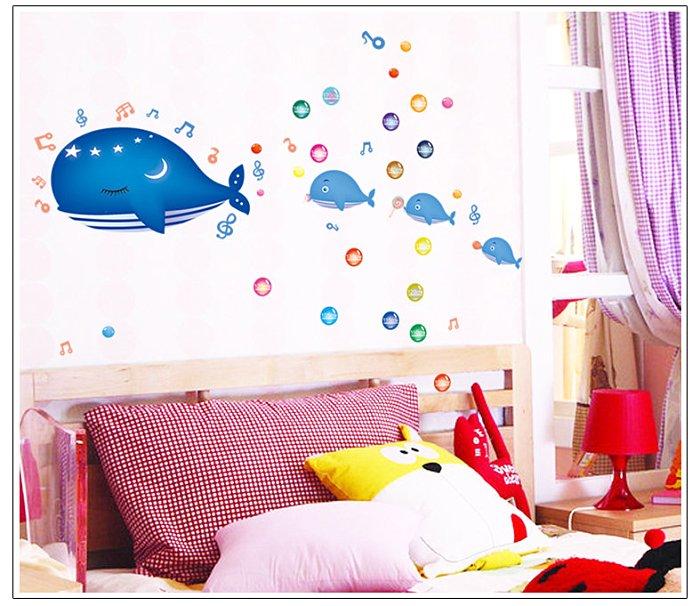 【壁貼王國】 身高貼系列 無痕壁貼 《鯨魚世界 - AY7018》