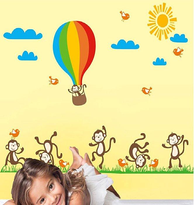 【壁貼王國】卡通系列無痕壁貼 《猴子草原熱氣球 - AY847》