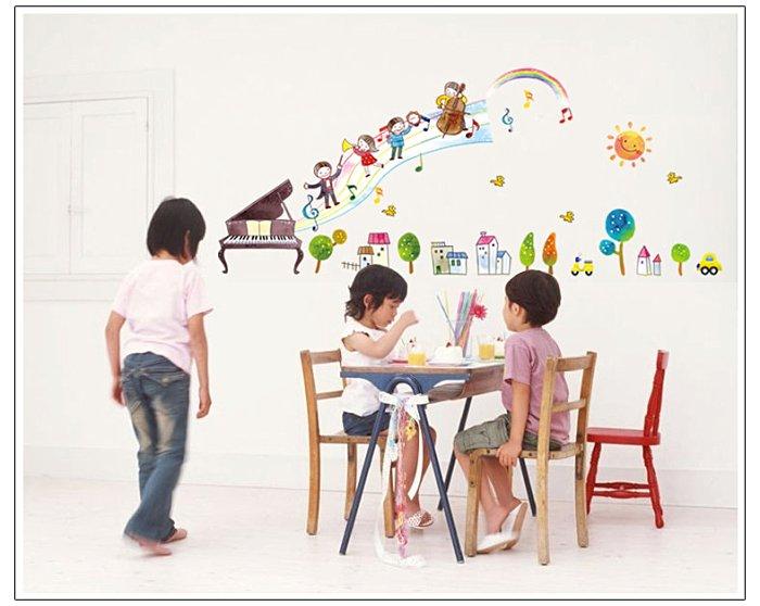 【壁貼王國】 音樂系列 無痕壁貼 《音符彩虹 - AY7053》