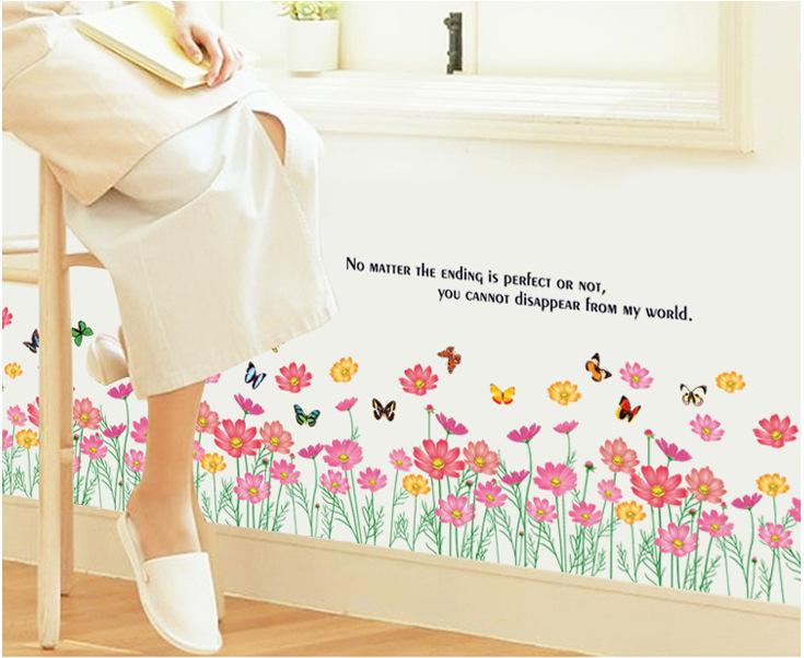 【壁貼王國】 踢腳板/櫥窗系列無痕壁貼 《花兒朵朵開 - AY870》