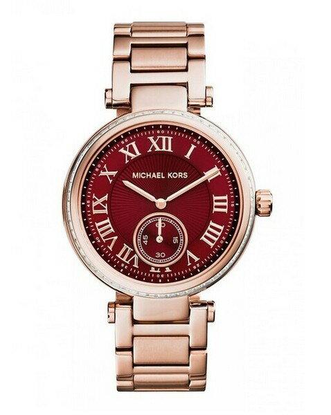 美國Outlet正品代購 MichaelKors MK 復古羅馬鑲鑽紅  陶瓷  三環 手錶 腕錶 MK6086 0