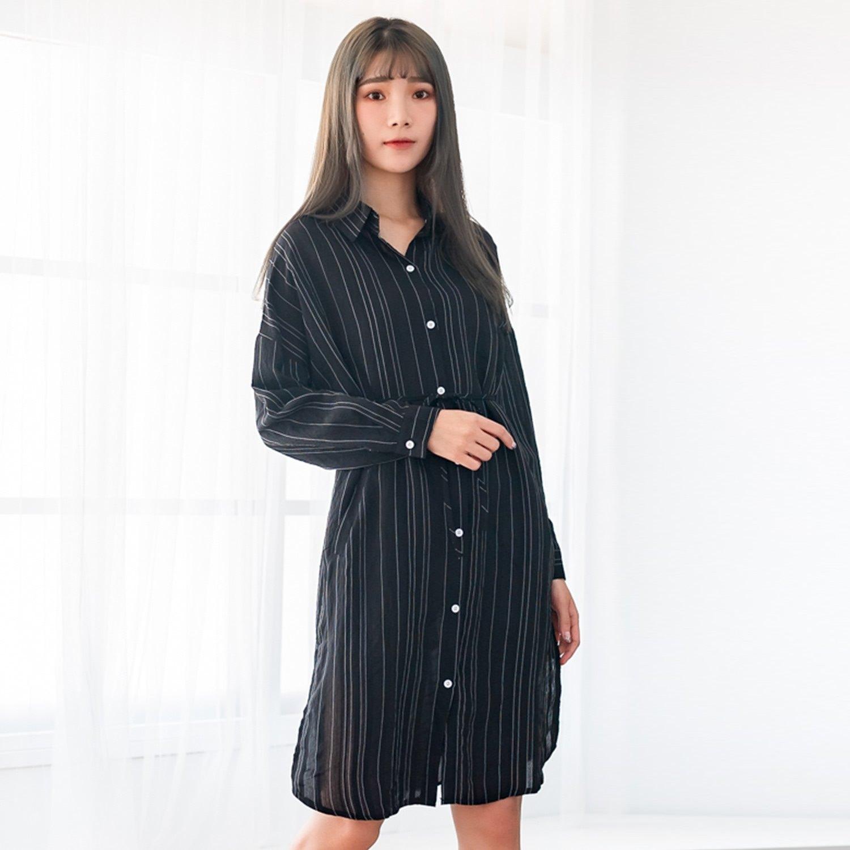 長版襯衫--知性優雅鈕扣黑白撞色直條紋寬鬆雪紡長袖襯衫(黑XL-3L)-I127眼圈熊中大尺碼 0