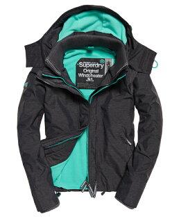 Topshop:極度乾燥SuperdryOriginalWindcheater2017年防風防潑水機能外套三層拉鍊設計女款黑標炭灰綠