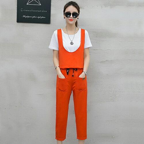 T恤+背帶七分褲兩件套(4色S~2XL)【OREAD】 3