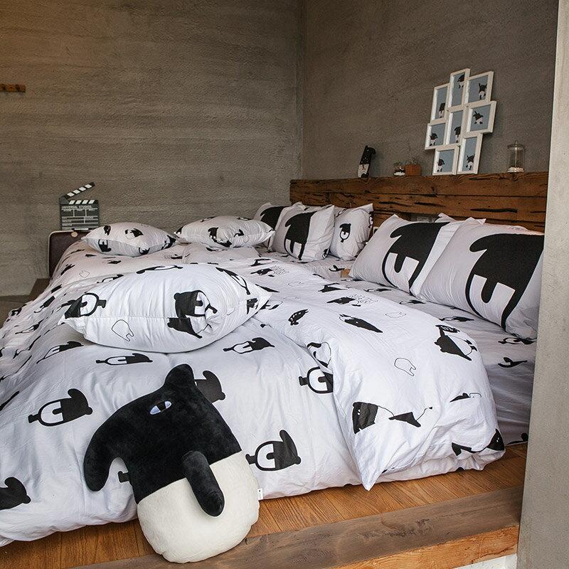 床包被套組  /  雙人-100%精梳棉【經典黑白款-馬來貘的日常】含兩件枕套 獨家人氣插畫家 聯名款 戀家小舖 台灣製 3
