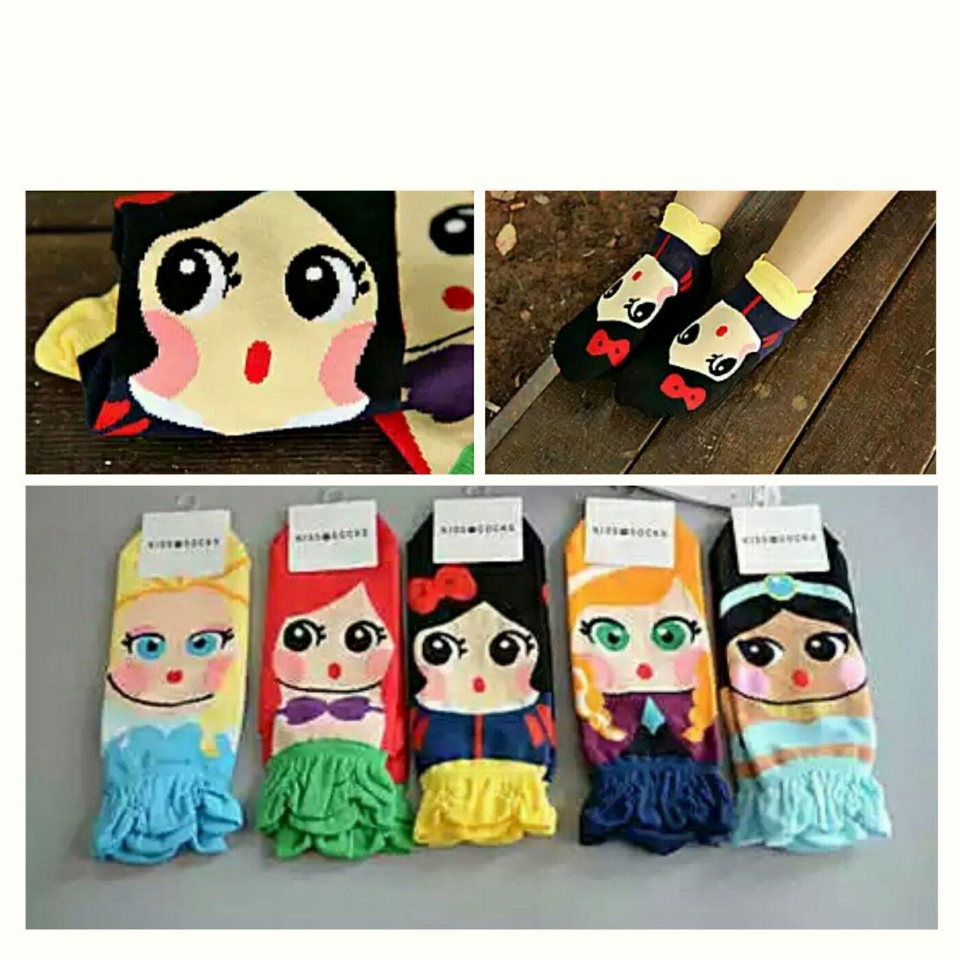 韓國製 韓版 小美人魚 愛麗絲 安娜 艾莎 冰雪奇緣 白雪公主 襪子 女襪 棉襪 直板襪 現貨~不挑色