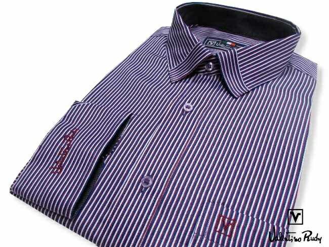 Valentino Rudy范倫鐵諾.路迪【修身版】長袖襯衫-藍紅白直條