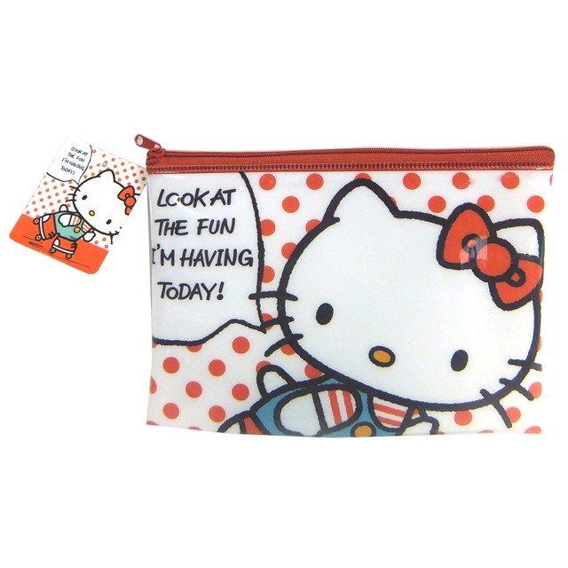 【真愛日本】4513750716603 透明拉鍊扁包-KT紅點白GGAC 凱蒂貓kitty 筆袋 文具收納 文具 萬用袋 零錢包 面紙包 化妝包