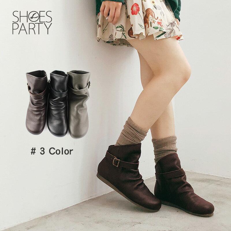 預購【F2-18106L】扣帶自然皺褶真皮中筒靴-日本製 0