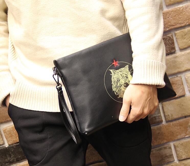 FINDSENSE Z1 韓國 時尚 潮 男 黑色 皮質 虎頭圖案 休閒 手拿包 皮夾包 公事包