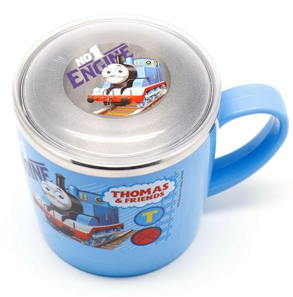 X射線【C702085】湯瑪士藍色304不鏽鋼隔熱杯附蓋255ml韓國製,開學必備/水杯/漱口杯/牙刷杯/Disney/THOMAS