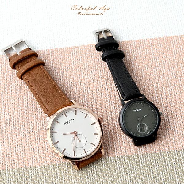 手錶 獨立秒針皮革腕錶【NE1975】 柒彩年代