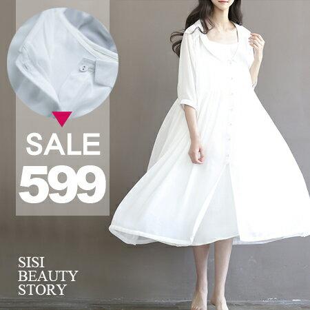 SISI【E6033】復古森林系女孩翻領寬鬆清新開襟大襬雪紡連身裙洋裝+細肩吊帶連身襯衣內搭套裝