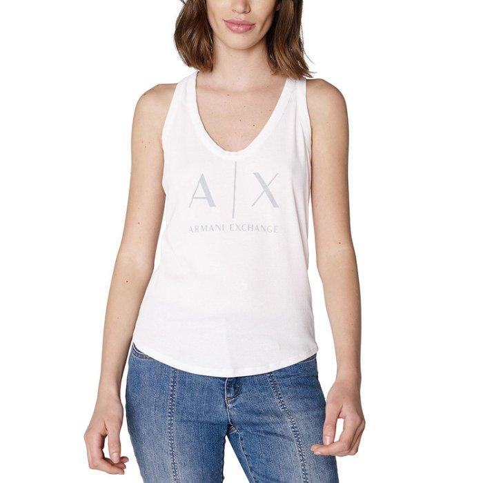 美國百分百【Armani Exchange】挖背 背心 AX 無袖 logo 上衣 T-shirt 白色 女 XS S號 I208