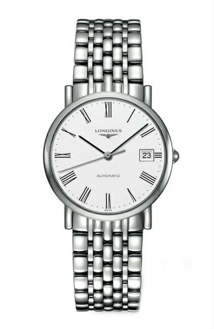 LONGINES 浪琴錶 L48104126優雅系列羅馬紳士機械腕錶/白面37mm