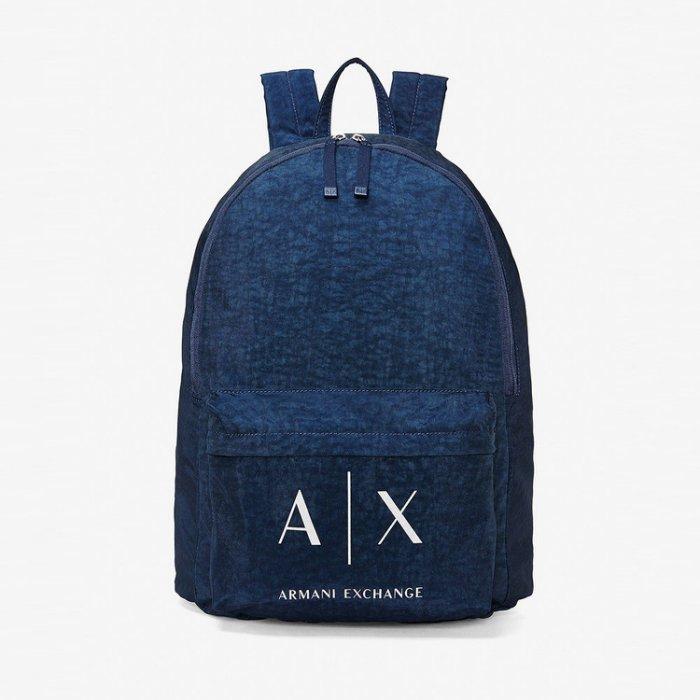 美國百分百【全新真品】Armani Exchange 後背包 AX 學生包 背包 書包 肩背包 外出包 深藍 H709