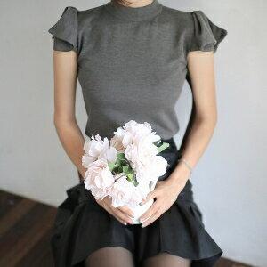 美麗大街【IR2276】韓版立領蝴蝶結肩修身短袖T恤