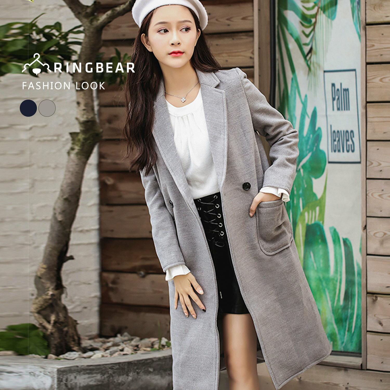 外套--優雅氣質英倫風西裝領單排釦貼式口袋長版毛呢大衣(灰.藍L-3L)-J320眼圈熊中大尺碼